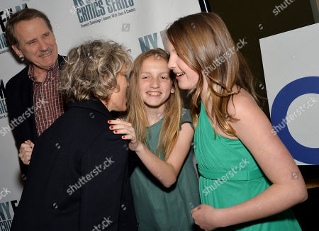 """Actress Frances McDormand, left, greets and Eva Grace Kellner, center, and Brynne Norquist at the New York Film Critics Series screening of """"Every Secret Thing"""" at the AMC Empire 25, in New York"""