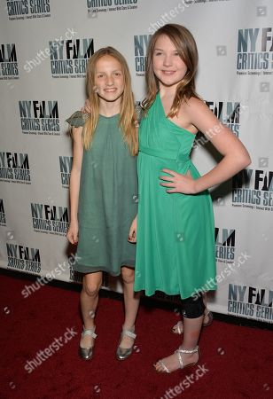 """Stock Image of Actors Eva Grace Kellner, left, and Brynne Norquist attend the New York Film Critics Series screening of """"Every Secret Thing"""" at the AMC Empire 25, in New York"""