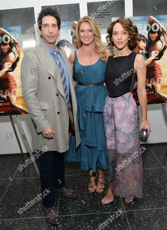 """David Schwimmer, producer Sarah Arison, center, and Zoe Buckman attend a special screening of """"Desert Dancer"""", hosted by The Cinema Society, at The Museum of Modern Art, in New York"""