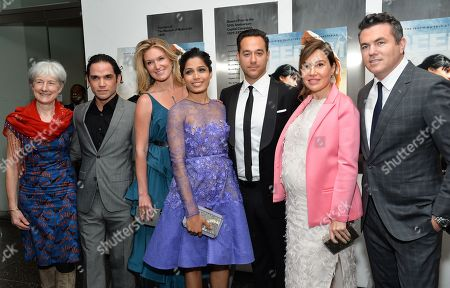 "Producer Pippa Cross, actor Reece Ritchie, producer Sarah Arison, actress Freida Pinto, director Richard Raymond, producer Fabiola Beracasa and Relativity Studios president Tucker Tooley attend a special screening of ""Desert Dancer"", hosted by The Cinema Society, at The Museum of Modern Art, in New York"