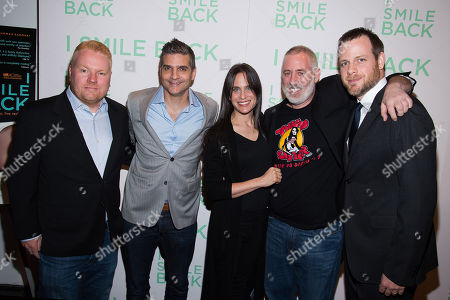 "Mike Harrop, from left, David Levien, Amy Koppelman, Brian Koppelman and Adam Salky attend a special screening of ""I Smile Back"" at The Museum of Modern Art, in New York"