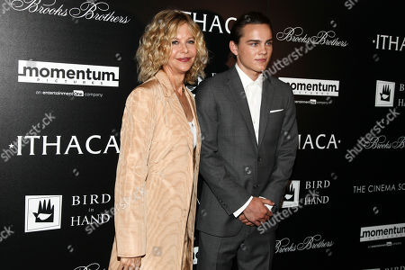 "Actors Meg Ryan, left, and Alex Neustaedter, right, attend a special screening of ""Ithaca"" at Landmark Sunshine Cinema, in New York"