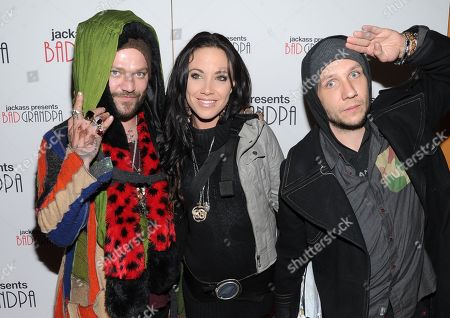 """Actor and daredevil Bam Margera, left, his girlfriend Nicole Boyd and stuntman Brandon Novak attend a special screening of """"Jackass Presents: Bad Grandpa"""" at the Sunshine Landmark Theater on in New York"""