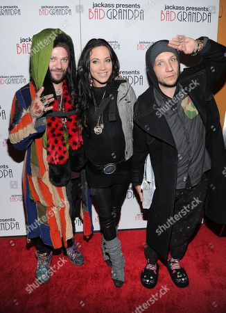 """Actor and daredevil Bam Margera, left, his wife Nicole Boyd and stuntman Brandon Novak attend a special screening of """"Jackass Presents: Bad Grandpa"""" at the Sunshine Landmark Theater, in New York"""
