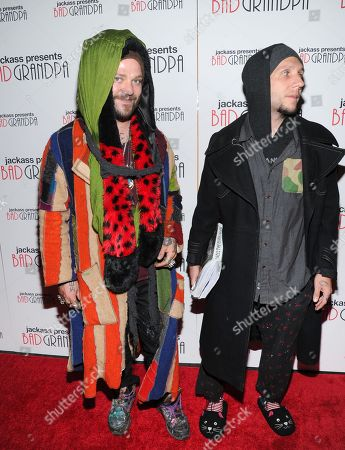 """Actor and daredevil Bam Margera, left, and stuntman Brandon Novak attend a special screening of """"Jackass Presents: Bad Grandpa"""" at the Sunshine Landmark Theater on in New York"""