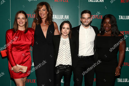 "Tammy Blanchard, from left, Allison Janney, Ellen Page, Evan Jonigkeit and Uzo Aduba attend a special screening of ""Tallulah"" at the Landmark Sunshine Cinema, in New York"