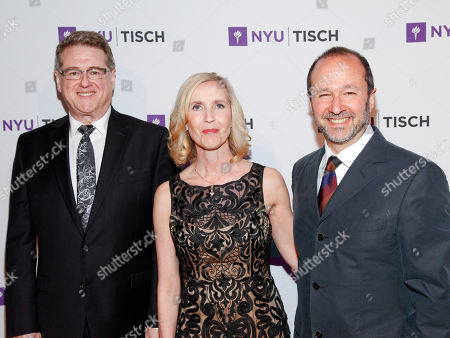 Robert L. Freedman, from left, Allyson Green and Steven Lutvak attend the NYU Tisch School of the Arts 2015 Gala at Jazz at Lincoln Center's Frederick P. Rose Hall, in New York