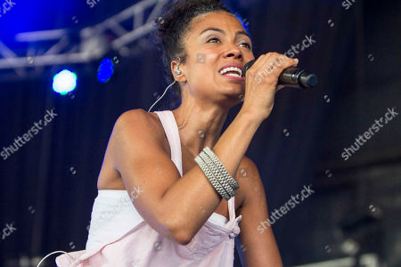 Amel Larrieux performs during the ONE Musicfest at Aaron's Amphitheatre at Lakewood, in Atlanta