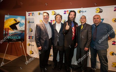 David Bishop of NAMCO USA INC., Professor Toru Iwatani, PAC-MAN lead creator with interpreter, Video game record holder, Billy Mitchell, Marco Mah of BANDAI NAMCO Entertainment America and Ben Acevedo of BANDAI NAMCO Entertainment America seen at the PAC-MANâ?™S Official 35th Birthday Celebration at LEVEL 257 on in Schaumburg, IL