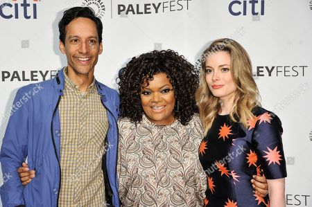 """From left, Danny Pudi, Yvette Nicole Brown, and Gillian Jacobs arrive at PALEYFEST 2014 - """"Community"""", in Los Angeles"""
