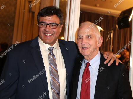 John Kiriakou, left, and Daniel Ellsberg attend the PEN Center USA's 25th Annual Literacy Awards Festival at the Beverly Wilshire Hotel, in Beverly Hills, Calif