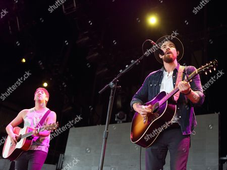 Stock Photo of Tom Higgenson, from left, and Tim Lopez of the band Plain White T's perform in concert at the Susquehanna Bank Center, in Camden, N.J