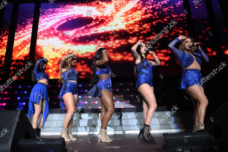Stock Image of Ally Brooke Hernandez, Normani Kordei, Lauren Jauregui, Camila Cabello and Dinah Jane Hansen with Fifth Harmony performs during the Power 96.1 Jingle Ball at Philips Arena, in Atlanta