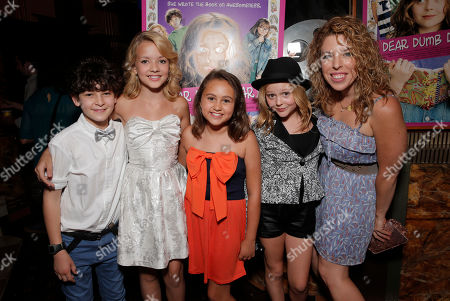 "David Mazouz, Sterling Griffith, Mary-Charles Jones, Emily Alyn Lind and director Kristin Hanggi attend the red carpet at the premiere of ""Dear Dumb Diary"" at the Crest Theater on in Los Angeles"