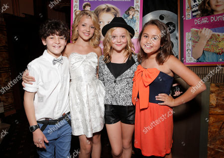 """David Mazouz, Sterling Griffith, Emily Alyn Lind and Mary-Charles Jones attend the red carpet at the premiere of """"Dear Dumb Diary"""" at the Crest Theater on in Los Angeles"""
