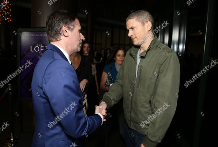 """Stock Photo of Director Erik Van Looy and Wentworth Miller seen at the Premiere of """"The Loft"""" Featuring Ketel One Vodka, in Los Angeles"""