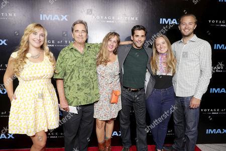 "Emily Bridges, Beau Bridges, Wendy Treece Bridges, Jordan Bridges, Rose Hogan and Dylan Bridges seen at Los Angeles Premiere of ""Voyage of Time: The IMAX Experience"" at California Science Center IMAX Theatre, in Los Angeles"