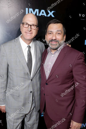 """Stock Picture of IMAX Entertainment CEO Greg Foster and Producer Sophokles Tasioulis seen at Los Angeles Premiere of """"Voyage of Time: The IMAX Experience"""" at California Science Center IMAX Theatre, in Los Angeles"""