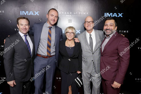 """Stock Image of Robert D. Lister, IMAX Chief Legal Officer and Chief Business Development Officer, Producer Nicolas Gonda, Producer Sarah Green, Greg Foster, Chief Executive Officer, IMAX Entertainment and Senior Executive Vice President, IMAX Corp, and Producer Sophokles Tasioulis seen at Los Angeles Premiere of """"Voyage of Time: The IMAX Experience"""" at California Science Center IMAX Theatre, in Los Angeles"""