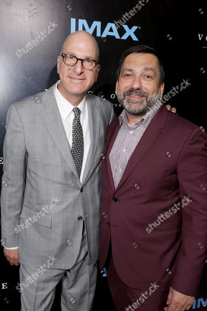 """IMAX Entertainment CEO Greg Foster and Producer Sophokles Tasioulis seen at Los Angeles Premiere of """"Voyage of Time: The IMAX Experience"""" at California Science Center IMAX Theatre, in Los Angeles"""