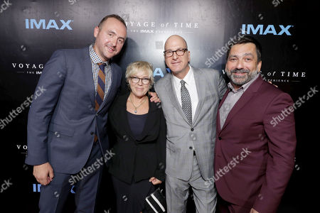 """Producer Nicolas Gonda, Producer Sarah Green, Greg Foster, Chief Executive Officer, IMAX Entertainment and Senior Executive Vice President, IMAX Corp, and Producer Sophokles Tasioulis seen at Los Angeles Premiere of """"Voyage of Time: The IMAX Experience"""" at California Science Center IMAX Theatre, in Los Angeles"""