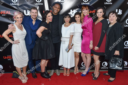 Stock Image of Shiri Appleby, left, Josh Kelly, Sarah Gertrude Shapiro, Jeffrey Bowyer-Chapman, Constance Zimmer, Marti Noxon, Breeda Wool, Aline Elasmar and Amy Hill arrive at Lifetimeâ?™s scripted series premiere of UnREAL at SIXTY Beverly Hills, in Beverly Hills, Calif