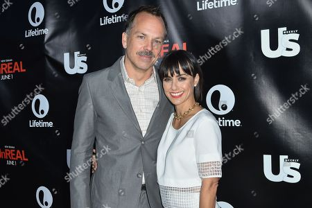 Russ Lamoureux, left, and Constance Zimmer arrive at Lifetimeâ?™s scripted series premiere of UnREAL at SIXTY Beverly Hills, in Beverly Hills, Calif
