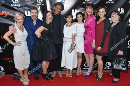 Stock Picture of Shiri Appleby, left, Josh Kelly, Sarah Gertrude Shapiro, Jeffrey Bowyer-Chapman, Constance Zimmer, Marti Noxon, Breeda Wool, Aline Elasmar and Amy Hill arrive at Lifetimeâ?™s scripted series premiere of UnREAL at SIXTY Beverly Hills, in Beverly Hills, Calif