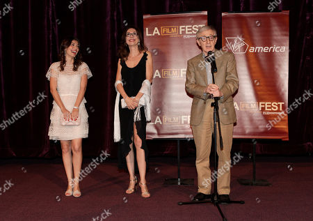 "Alessandra Mastroianni, Simona Caparrini and Woody Allen attend the premiere of ""To Rome With Love"" at Regal Cinemas L.A. LIVE on in Los Angeles"
