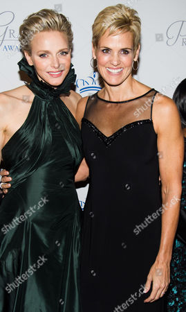 HSH Princess Charlene of Monaco, left, and Dara Torres attend the Princess Grace Awards Gala on in New York