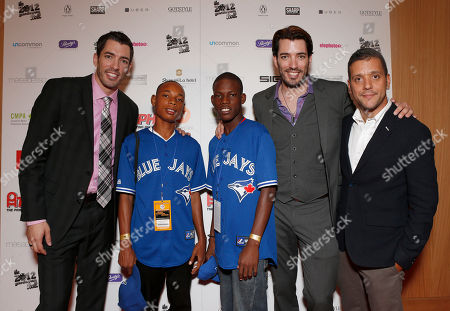 Jonathan Silver Scott, Japhnay Dererus, Alvyns Joseph, Drew Scott and George Stroumboulopoulos attend the Producers Ball 2012 at the Shangri-La Toronto, in Toronto, Canada