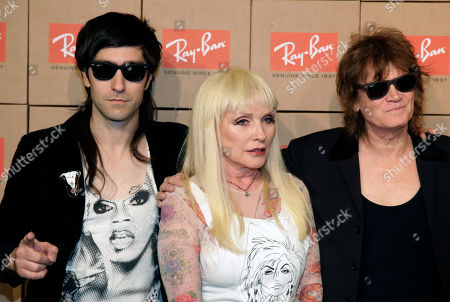 """From left, recording artists Matt Katz-Bohen, Deborah Harry and Leigh Foxx of the band Blondie attend the Ray-Ban """"District 1937"""" Collection launch event, in New York"""