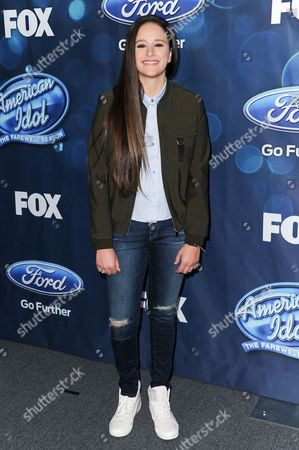 """Avalon Young attends the red carpet arrivals and Debut of the """"American Idol XV"""" Finalists, in West Hollywood, Calif"""