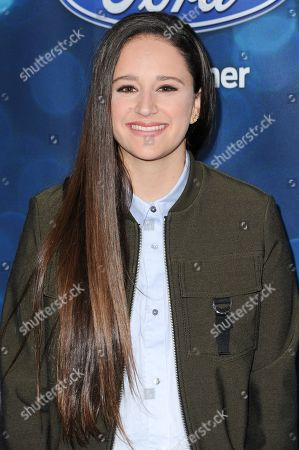 """Stock Picture of Avalon Young attends the red carpet arrivals and Debut of the """"American Idol XV"""" Finalists, in West Hollywood, Calif"""
