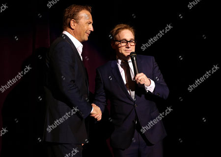 """Stock Photo of Kevin Costner and Director/Writer Mike Binder seen at Relativity Studios Los Angeles Premiere of """"Black or White"""" held at Regal Cinemas, in Los Angeles"""