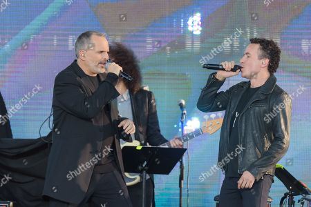 Stock Image of Miguel Boss, left, and Juan Fernando Fonseca perform at RiseUp As One at Cross Border Xpress, in San Diego