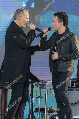 Stock Photo of Miguel Bose, left, and Juan Fernando Fonseca perform at RiseUp As One at Cross Border Xpress, in San Diego
