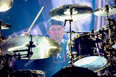 Stock Image of Neil Peart of Rush performs during the final show of the R40 Tour at The Forum, in Los Angeles