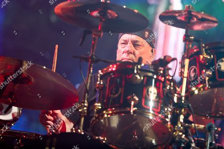 Stock Photo of Neil Peart of Rush performs during the final show of the R40 Tour at The Forum, in Los Angeles