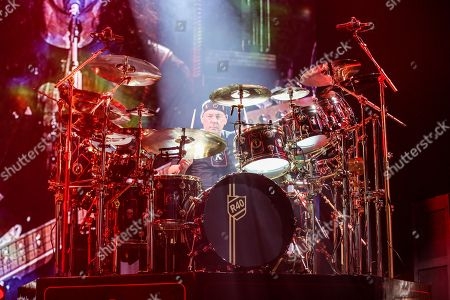 Neil Peart of Rush performs during the final show of the R40 Tour at The Forum, in Los Angeles