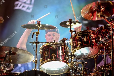 Stock Picture of Neil Peart of Rush performs during the final show of the R40 Tour at The Forum, in Los Angeles