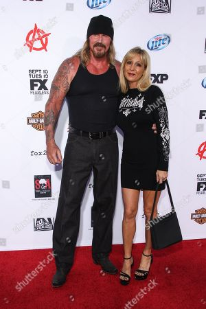 """Rusty Coones and wife Katherine arrive at the season 6 premiere screening of """"Sons of Anarchy"""" at the Dolby Theatre on in Los Angeles"""