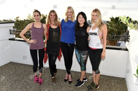 Stock Image of Louise Roe, from left, Angela Lindvall, Anne Vyalitsyna, SELF Editor-in-Chief Joyce Chang, and Lexi Atkins attend SELF: Get #UPnOUT at Palihouse, in West Hollywood, Calif