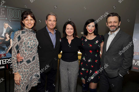 """Executive Producer Sarah Timberman, Beau Bridges, Executive Producer Michelle Ashford, Sarah Silverman and Michael Sheen seen at Showtime's """"Masters of Sex"""" ATAS FYC Panel at Landmark Theatre West LA, in Los Angeles"""