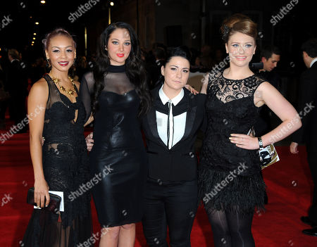 Stock Image of Tulisa Contostavlos (2L) with X Factor finalists Jade Ellis, Lucy Spraggen and Ella Henderson arrives at the world premiere of Skyfall James Bond 007 at the Royal Albert Hall on in London