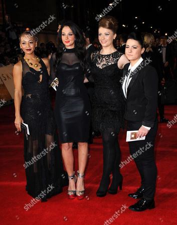 Tulisa Contostavlos (2L) with X Factor finalists Jade Ellis, Lucy Spraggen and Ella Henderson arrives at the world premiere of Skyfall James Bond 007 at the Royal Albert Hall on in London