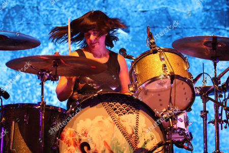 Janet Weiss with Sleater-Kinney performs at the Tabernacle, in Atlanta
