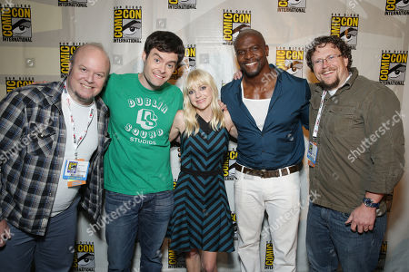 Director Cody Cameron, Bill Hader, Anna Faris, Terry Crews and Director Kris Pearn seen at Sony Pictures Presentation at 2013 Comic-Con, on Friday, July, 19, 2013 in San Diego, Calif