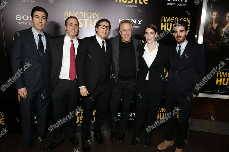 Producers Jonathan Gordon, Richard Suckle, producer/director/writer David O. Russell, producers Charles Roven, Megan Ellison and executive producer Matthew Budman seen at the special screening of Columbia Pictures and Annapurna Pictures of American Hustle, on in Los Angeles