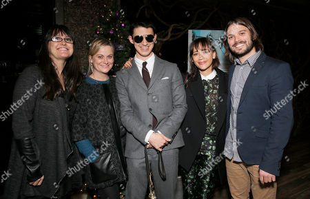"Paula DuPre Pesmen, Amy Poehler, Justin Kauflin, Rashida Jones and Director Alan Hicks attend a Special Screening of Radius-TWC's ""Keep on Keepin' On"" at iPic Westwood 6 on in Westwood, Calif"